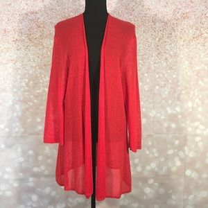 Nic + Zoe Red Open Front Cardigan
